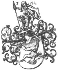 Arms engraved by Israel van Meckenem