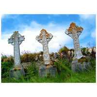 Celtic crosses at derrynane abbey.